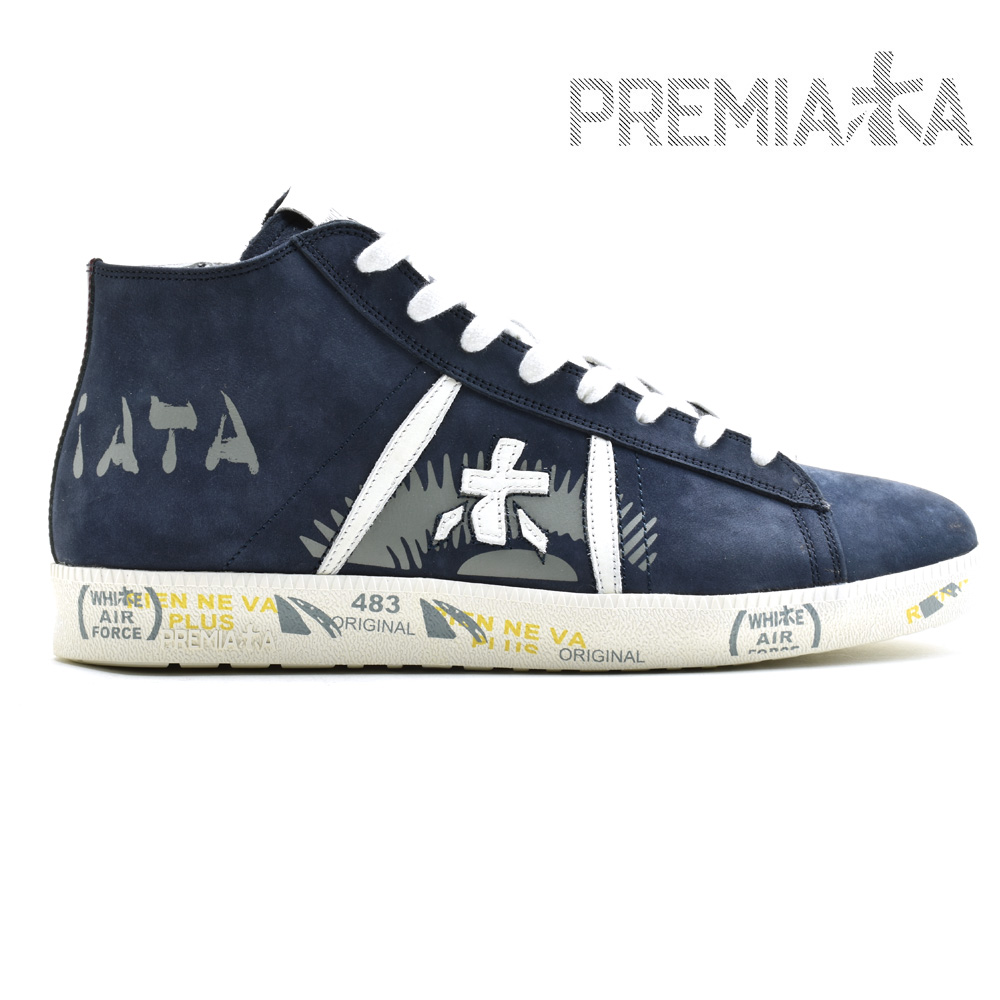 【父の日】プレミアータ PREMIATA TAYL 4252 NAVY ミッドカット スニーカー シューズ サイドジップ 靴 ネイビー 紺色 メンズ ギフト プレゼント ラッピング