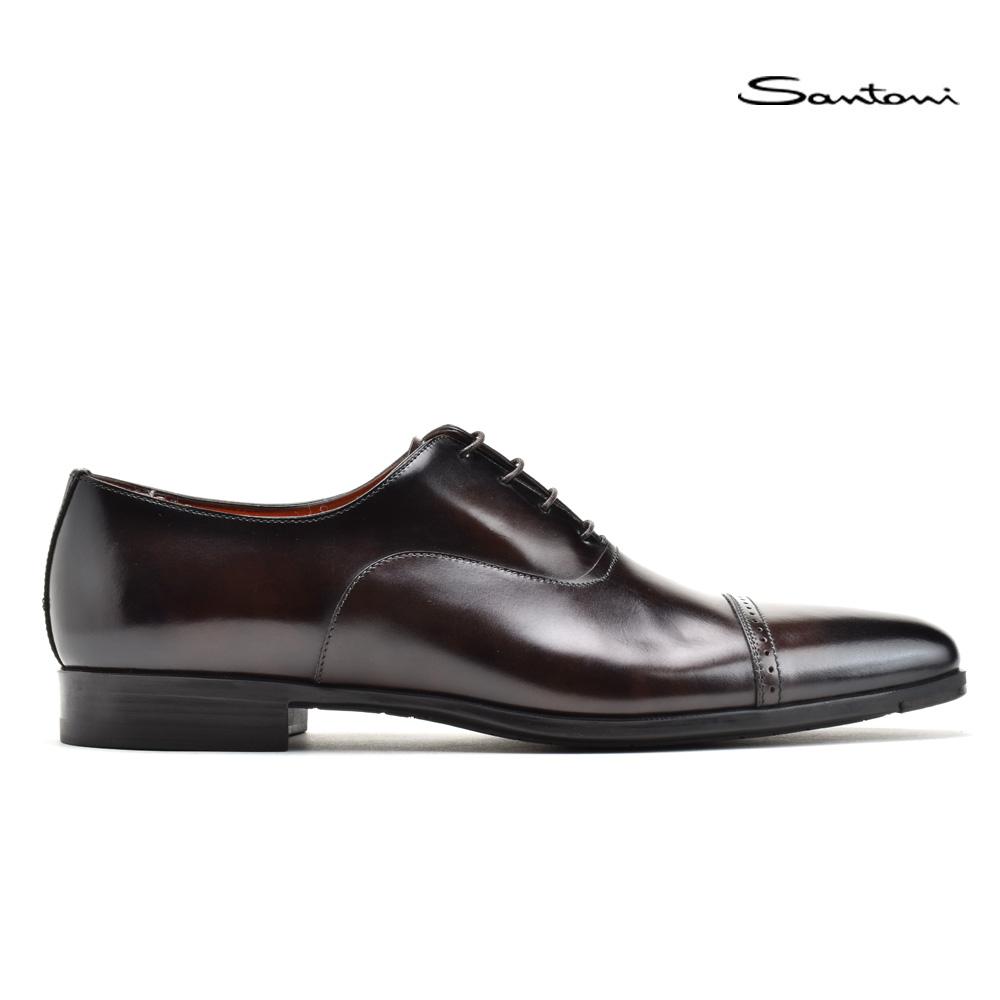 【お家DEお買い物】 サントーニ Santoni MGWL14231SMOIRYCT50 DARK BROWN レースアップシューズ ドレスシューズ ビジネスシューズ 革靴 ダークブラウン メンズ