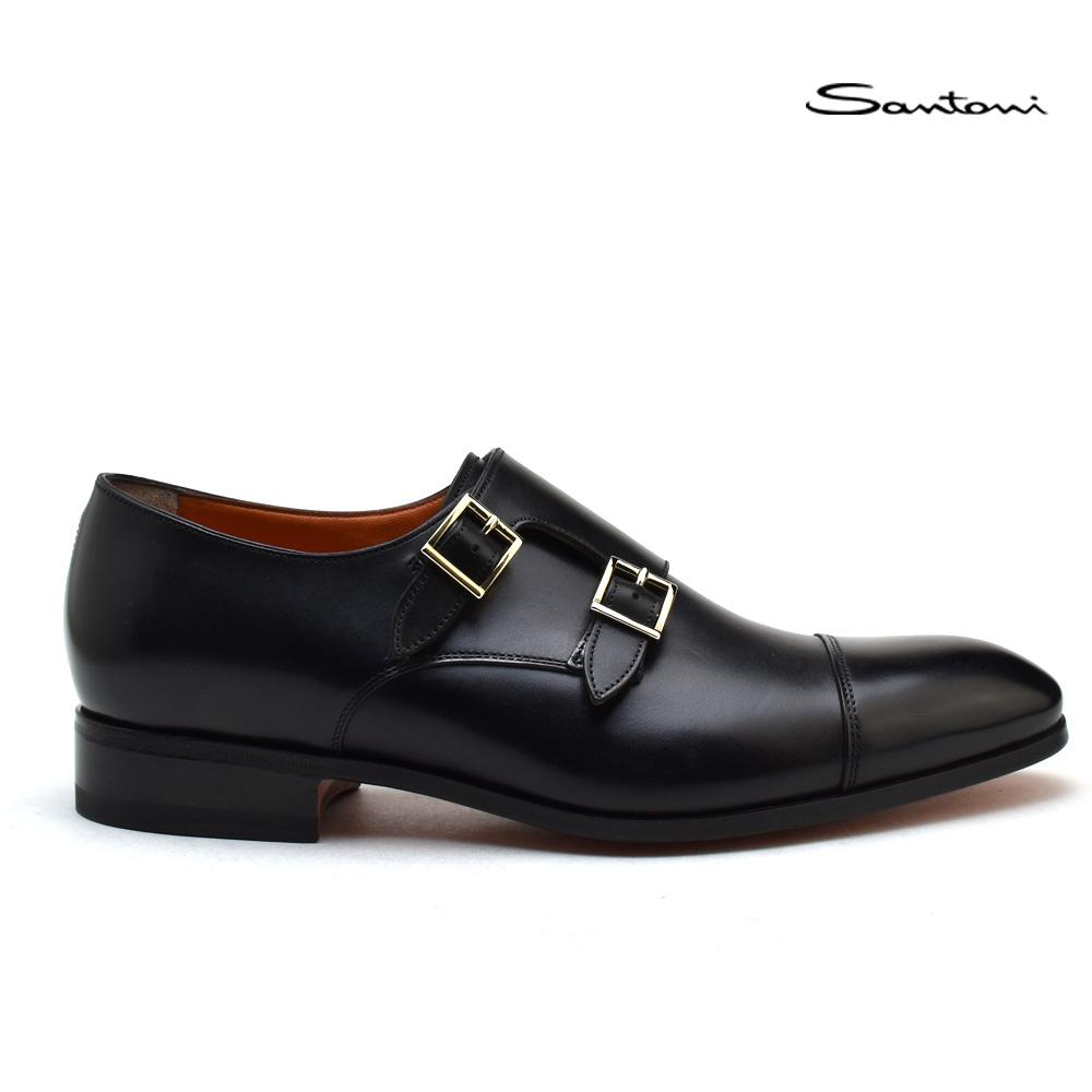 【お家DEお買い物】 サントーニ Santoni MCCR 15006 BA1IOBRN01 モンクストラップ ブラック ドレスシューズ 靴 メンズ