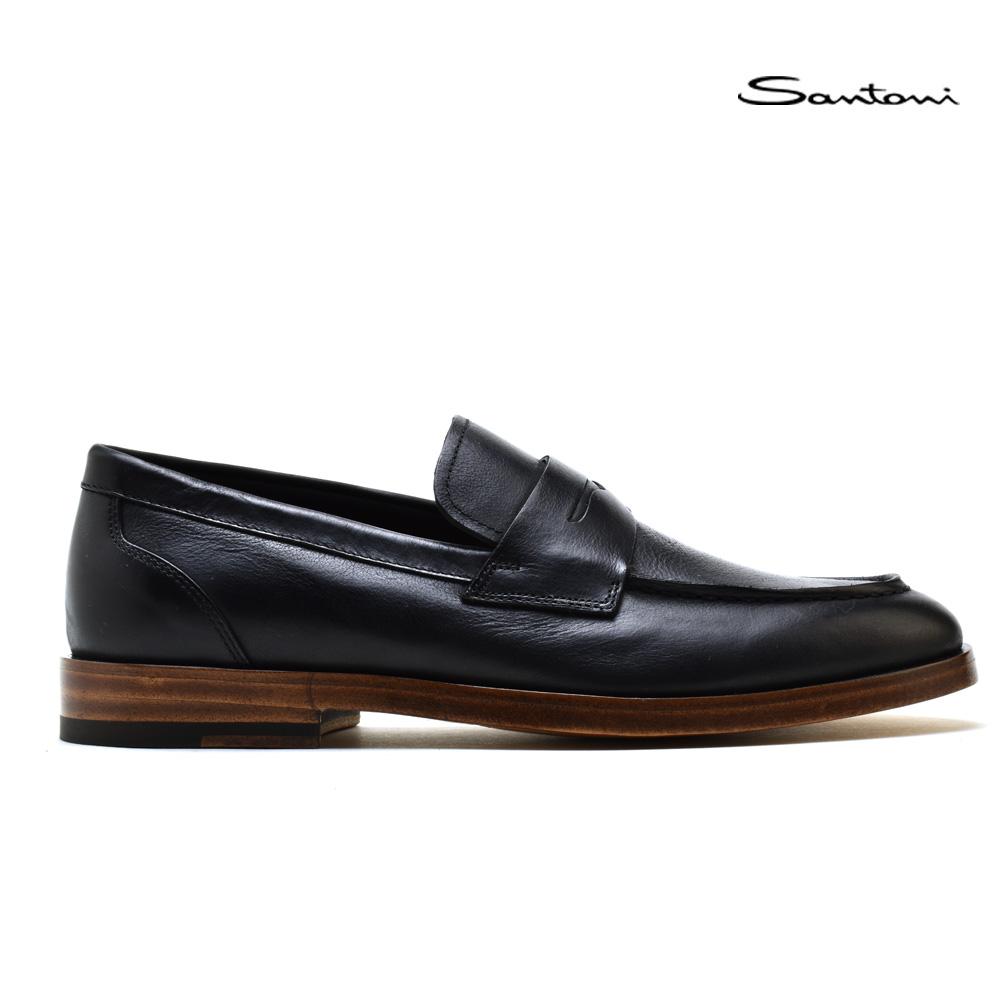 【お家DEお買い物】 サントーニ Santoni MCOR16301LBINTXXN01 BLACK コインローファー ビジネスシューズ 革靴 ブラック 黒 メンズ