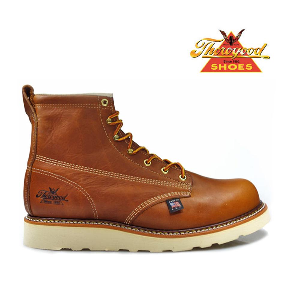 2962e35bd69 Thorogood by THOROGOOD 6 MOC TOE 814-4355 PLAIN TOE BOOTS Thorogood by  plain toe boots オイルタン Leather Brown tea EE wise