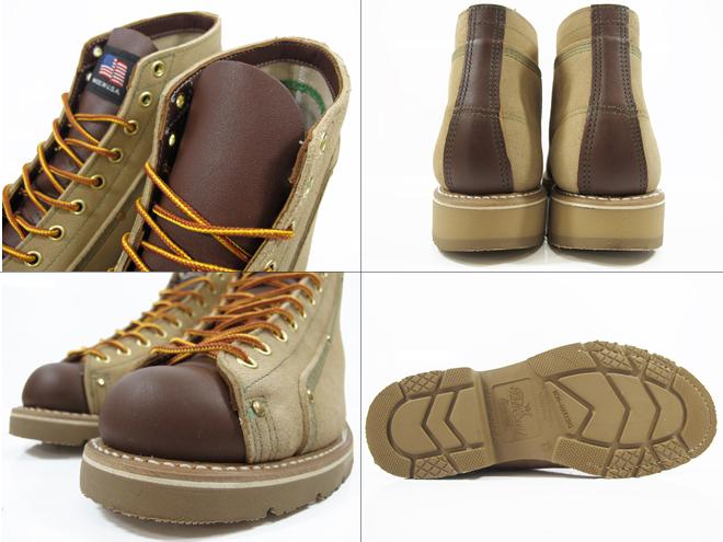 琳由自己的宣言由韦伯 633-1 砂麂皮绒棕色米色琳由 ウェインブレナー 屋顶工靴 サンドスエード / 棕色麂皮绒 x 光滑的皮革