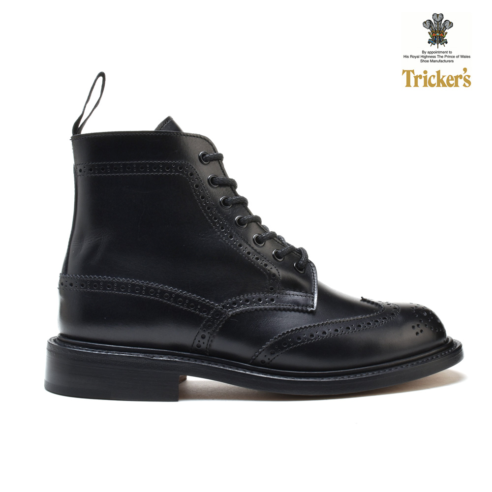979ad1e4af014 トリッカーズ TRICKERS country boots COUNTRY BOOT L5676 double leather sole BLACK  BOX CALF wing tip Lady's ...