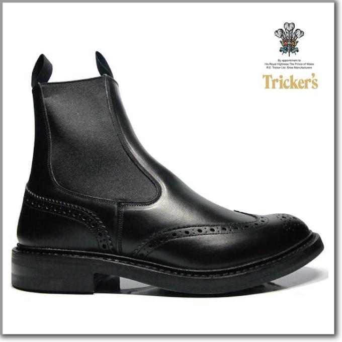 トリッカーズ TRICKER'S BLACK BOX CALF M2754 ELASTIC SIDED BROGUE BOOTS HENRY SIDE GORE ダイナイトソール ブラック ボックス カーフ エラスティック ブローグ ブーツ