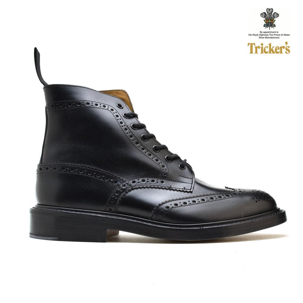 #ルンルン春うらら♪ トリッカーズ TRICKER'S 2508 カントリーブーツ ブラック 黒 BLACK ダブルレザーソール ウィングチップ ブローグシューズ メンズ