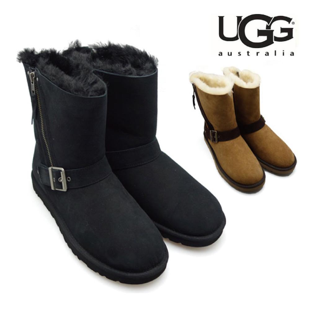 アグ UGG BLAISE 1003888 BLACK CHESTNUT ブレイズ ブラック チェスナット ショート シープスキン 羊毛 ムートン ブーツ シューズ レディース