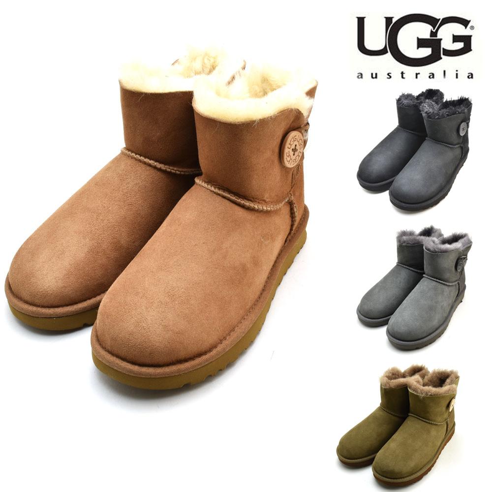 12dff211236 アグ UGG Mini Bailey Button II 1016422 mini-Bailey button II sheepskin mouton  boots boa Lady's gray Chesnutt black