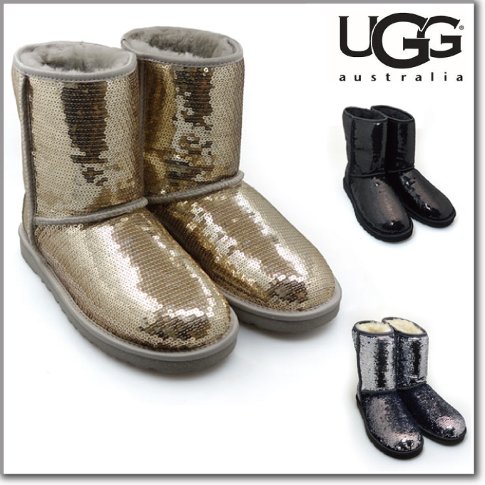 UGG アグ クラシックショート スパークレス Classic Short Sparkles ムートンブーツ 3161 3353/CHAMPAGNE[co-8]