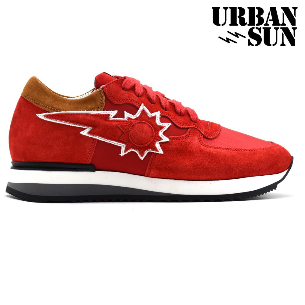 アーバンサン URBAN SUN VINCENT 505 RED ローカット スニーカー シューズ ランニングシューズ レッド 赤 メンズ
