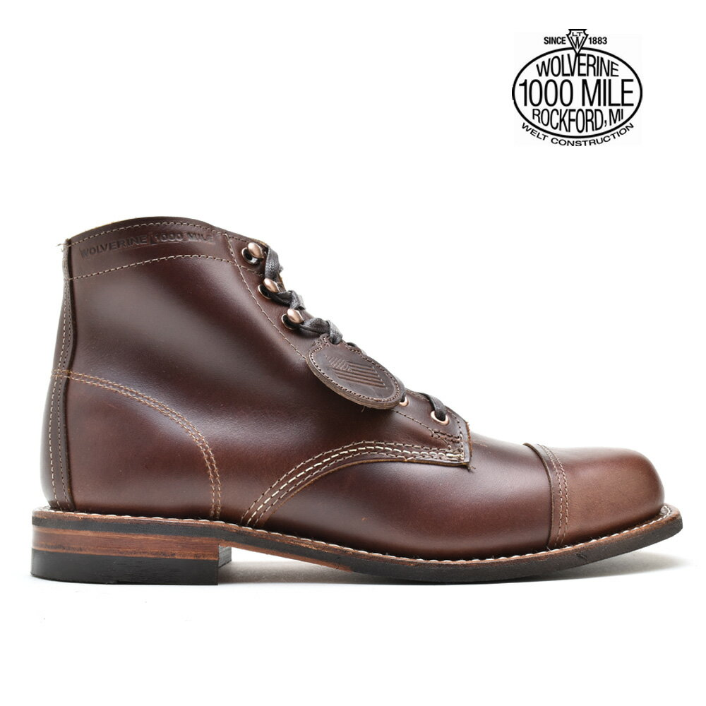 【お家DEお買い物】 ウルヴァリン WOLVERINE 1000MILE BOOTS W40555 BROWN 1000マイルブーツ キャップ トゥ ブーツ ワークブーツ ビブラムソール ブラウン メンズ