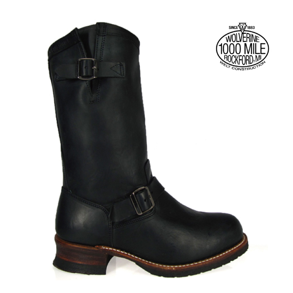 9577725a3d9 Wolverene 1,000 miles boots WOLVERINE W05295 engineer men boots black  STOCKTON 1000MILE BOOT