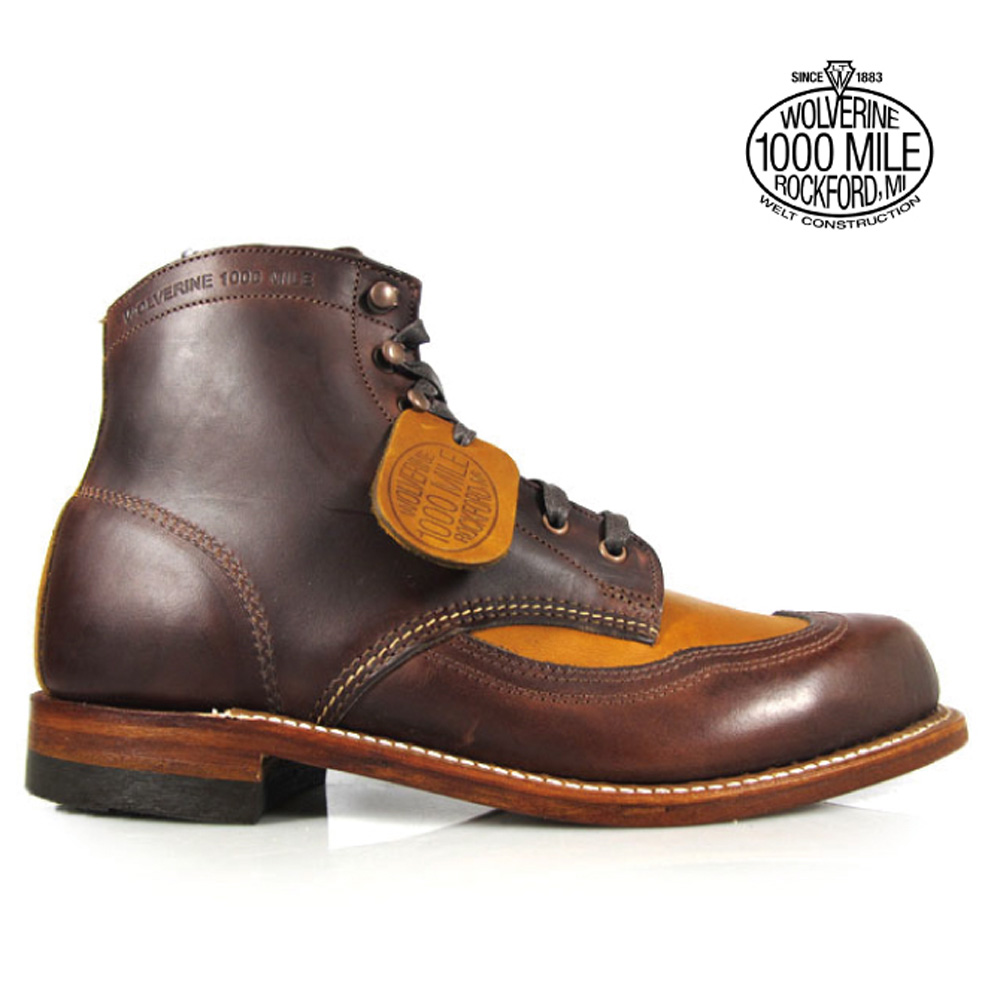 1f1d0aac555 Wolverene 1,000 miles boots WOLVERINE W06000 wing tip brown tongue Ho wink  ROM Excel leather men boots ADDISON 1000MILE WINGTIP BOOT Brown TAn MADE IN  ...