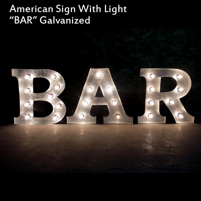 アメリカンサイン ウィズ ライト 「BAR」 (バー ) カフェ インテリア 照明 オブジェ アメリカ アメリカ雑貨 アメリカン雑貨
