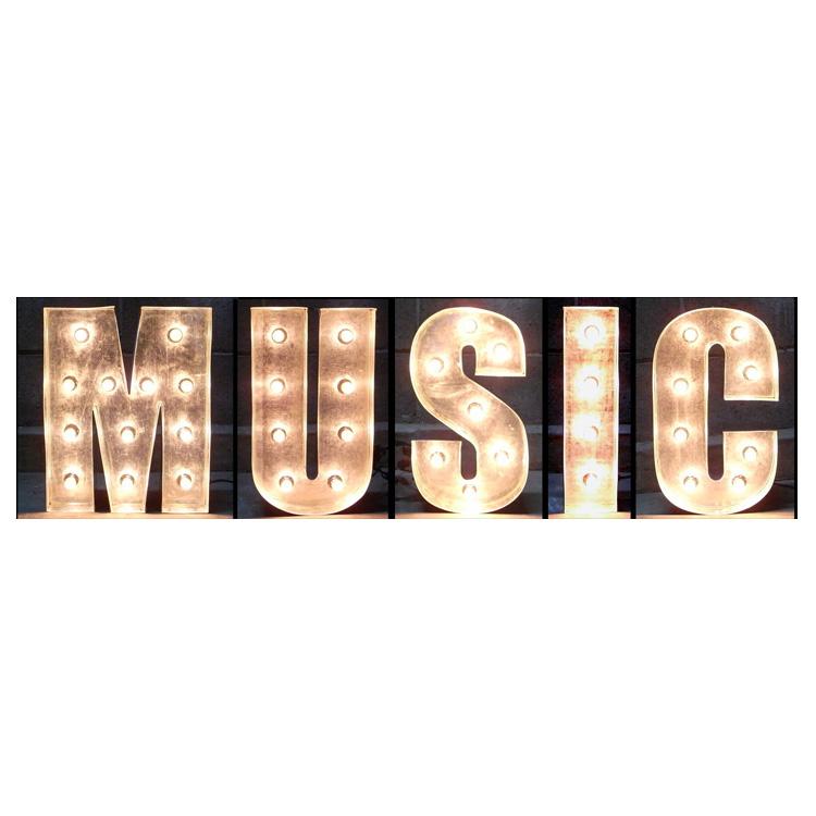 アメリカンサイン ウィズ ライト MUSIC :インパクトフォントタイプ 店舗装飾 インテリア 照明 アメリカ雑貨 アメリカン雑貨
