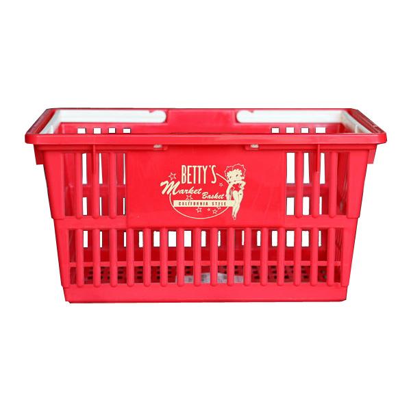 アメリカンなベティー柄買い物かご。 マーケットバスケット Sサイズ <ベティブープ :RD> 買い物籠 収納 アメリカ雑貨 アメリカン雑貨