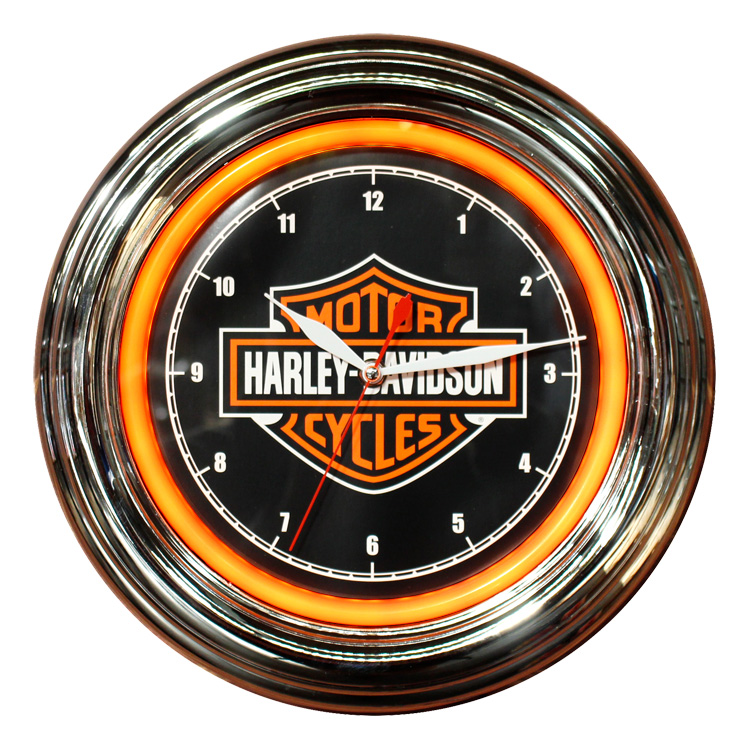 Harley-Davidson ハーレーダビッドソン B&S LEDクロック HDL-16633 ネオンクロック 壁掛け時計 ネオン管 インテリア ヴィンテージ アメリカ雑貨 アメリカン雑貨
