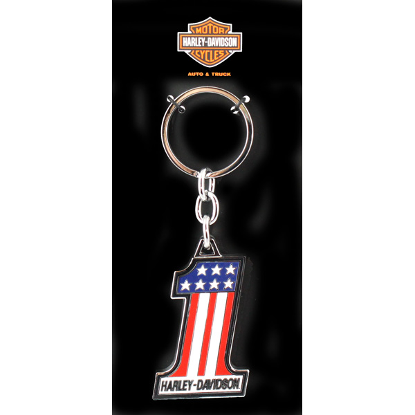 Harley-Davidson Number 1 Red White Blue  Metal Key Chain NEW