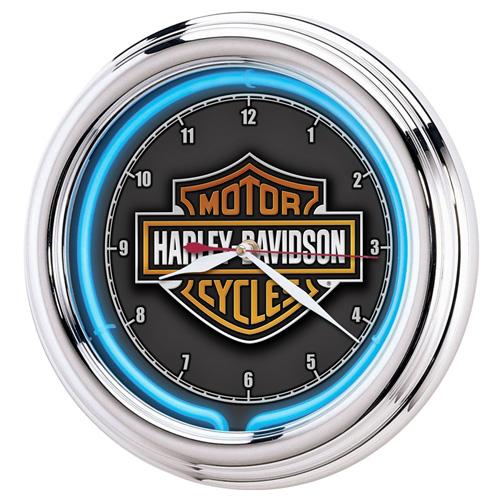 HARLEY-DAVIDSON ハーレーダビッドソン Essential Bar & Shield ネオンクロック HDL-16675 壁掛け時計 ネオン管 インテリア ヴィンテージ アメリカ雑貨 アメリカン雑貨