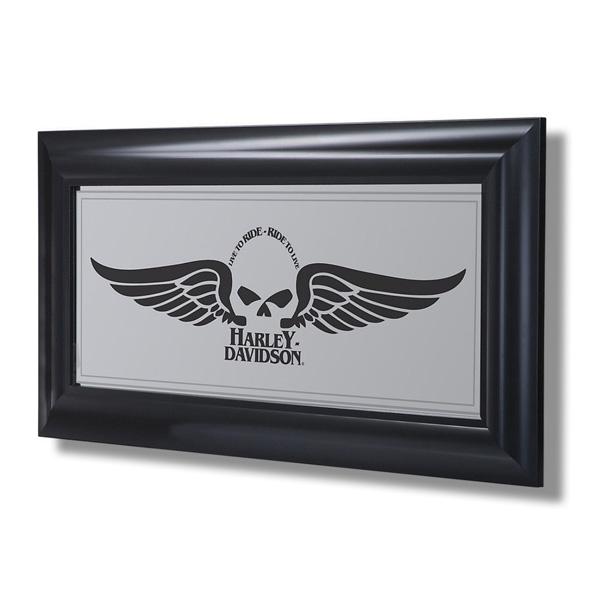 Harley-Davidson Winged Skull Mirror ハーレーダビッドソン ウイングドスカルミラー HDL-15222 アメリカ雑貨 アメリカン雑貨