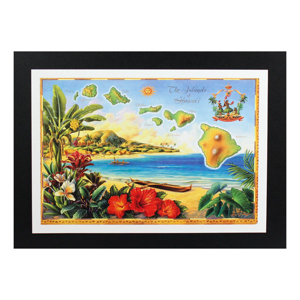 ハワイ諸島の地図シリーズです ハワイアンポスター マップシリーズ D-42 The Hawaii Island 新商品!新型 アートサイズ:縦21.3×横30.7cm 正規品スーパーSALE×店内全品キャンペーン of