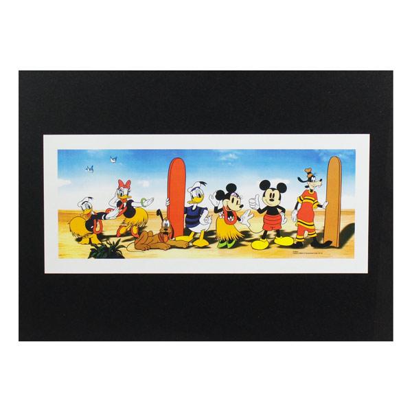 ディズニーの仲間達のサーフ柄です ハワイアンポスター ハワイアンシリーズ H-137 贈呈 1着でも送料無料 Party アートサイズ:縦13.3×横31.1cm Disney Surf