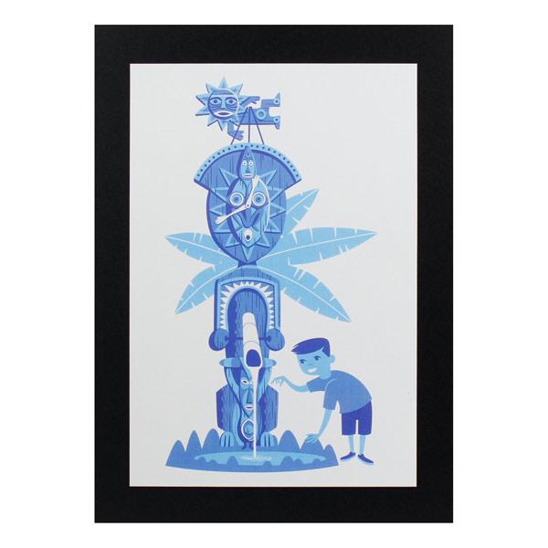 ハワイ生まれのイラストレーター シャグ の人気デザイン ハワイアンポスター ハワイアンシリーズ H-161 Art アートサイズ:縦30.6×横20.7cm Shag Tiki 店 Print 販売期間 限定のお得なタイムセール Blue