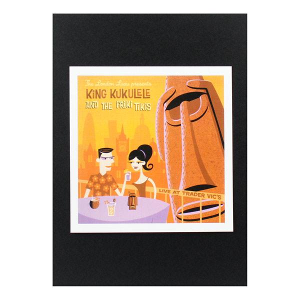 ハワイ生まれのイラストレーター シャグ の人気デザイン 定番 ハワイアンポスター ハワイアンシリーズ 送料無料新品 H-176 アートサイズ:縦21.8×横21.3cm Shag Print King Art Kukulele