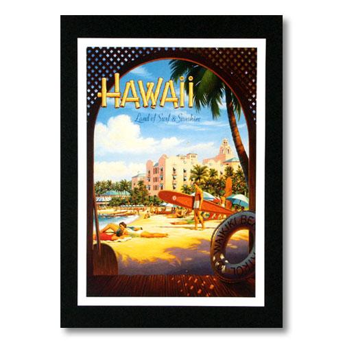 人気シェラトングループのホテルADポスター ハワイアンポスター ホテルシリーズ Hawaii Land of Surf and by Erickson Kerne アメリカ雑貨 人気ブレゼント Sunshine 40%OFFの激安セール G-5 アメリカン雑貨