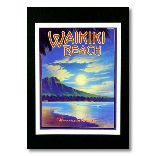 古き良きオールドハワイがたっぷり詰まったデザイン ハワイアンポスター ハワイアンシリーズ 送料無料カード決済可能 WAIKIKI BEACH 宅送 Moonrise in アメリカ雑貨 H-36 アメリカン雑貨 by Paradise Erickson