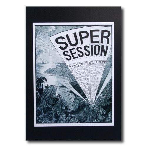 お部屋の雰囲気作りに 南国ハワイのポスター サーフムービーポスター 永遠の定番 SALE開催中 L-80 SUPER イラスト アメリカ雑貨 アメリカン雑貨 SESSION サイズ:28×21.5cm