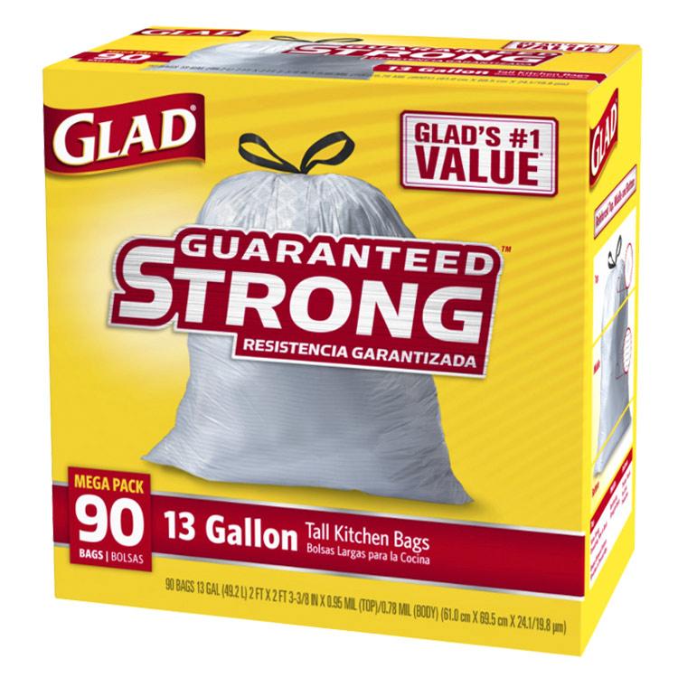 丈夫で便利なひも付きゴミ袋 ひも付きゴミ袋 GLAD トール ドローストーリング キッチンバッグ 超特価 アメリカン雑貨 アメリカ製 49.2L ポリ袋 キッチン用品 セール特価品 90枚入り
