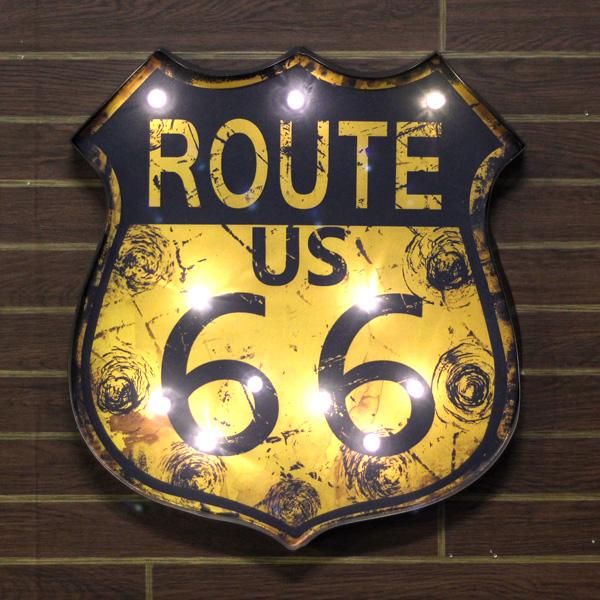 Route66 LEDウォールサイン<オレンジ> ライトアップサイン レトロインテリア ノスタルジックアメリカン ルート66 アメリカ雑貨 アメリカン雑貨