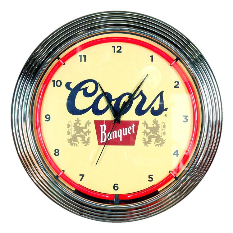 壁掛け 時計 ネオンクロック「Coors」レッドネオン クアーズ 壁掛け ネオン管 アメリカン インテリア アメリカ雑貨