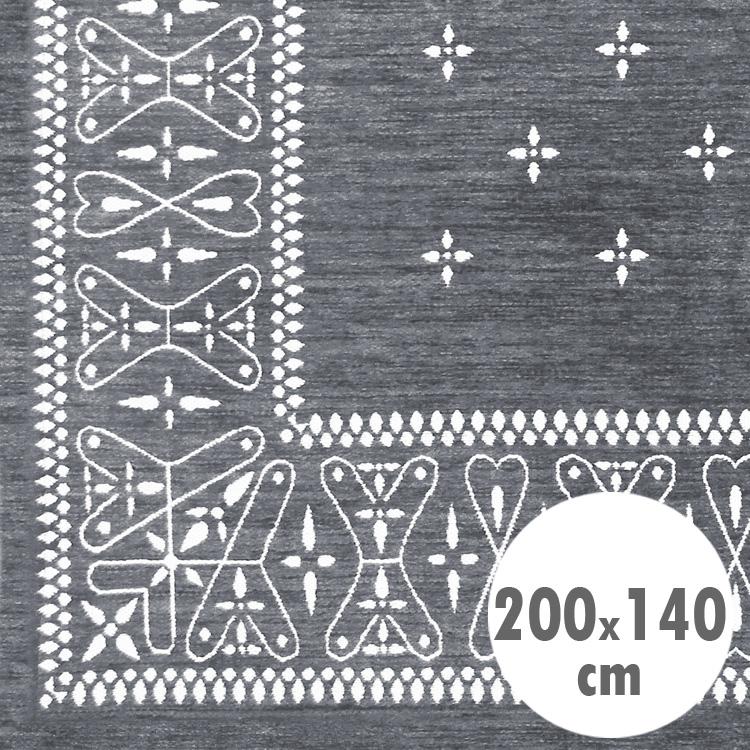バンダナラグ 「Cross」 グレー 200×140cm ラグマット カーペット 敷物 アメリカ雑貨 アメリカン雑貨