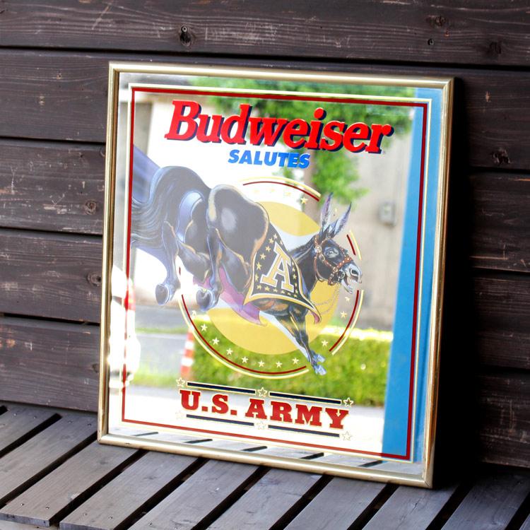 パブサインミラー Budweiser U.S.ARMY 59.5×54.5×2cm アメリカ直輸入USED(70416-22)アメリカンヴィンテージ アメリカ雑貨 アメリカン雑貨