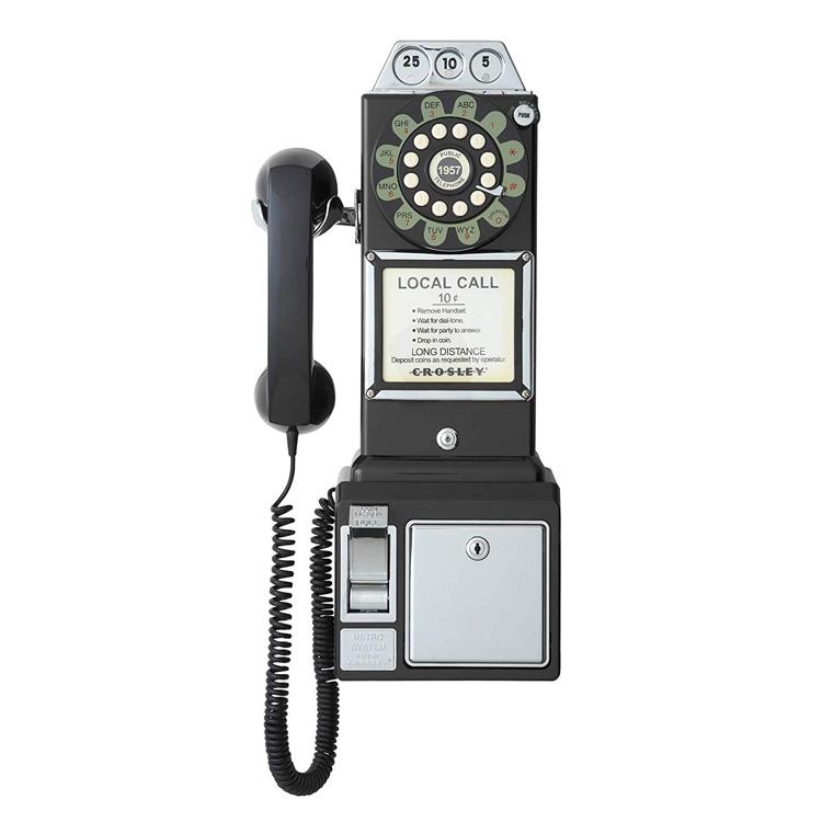 電話機 CROSLEY ペイテレフォン ブラック CR56-BK 家庭用 アンティーク風 レトロインテリア アメリカ雑貨 アメリカン雑貨