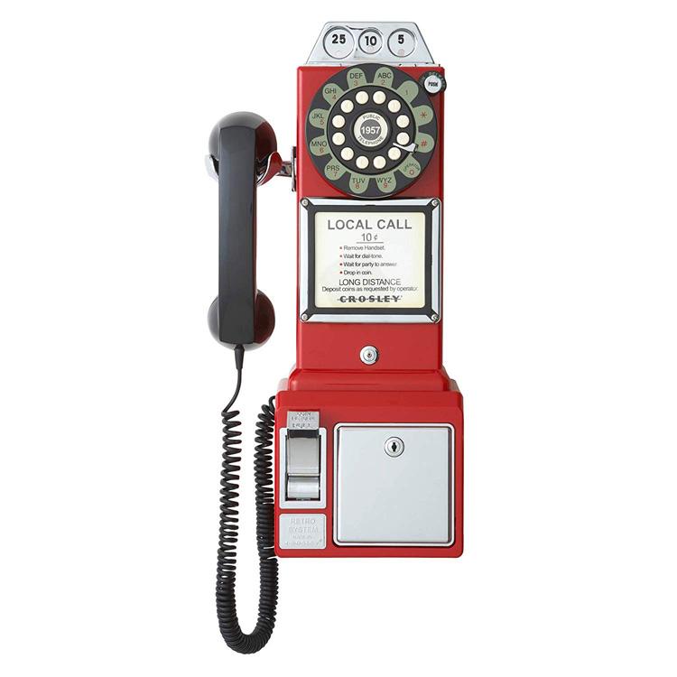 電話機 CROSLEY ペイテレフォン レッド CR56-RE 家庭用 アンティーク風 レトロインテリア アメリカ雑貨 アメリカン雑貨