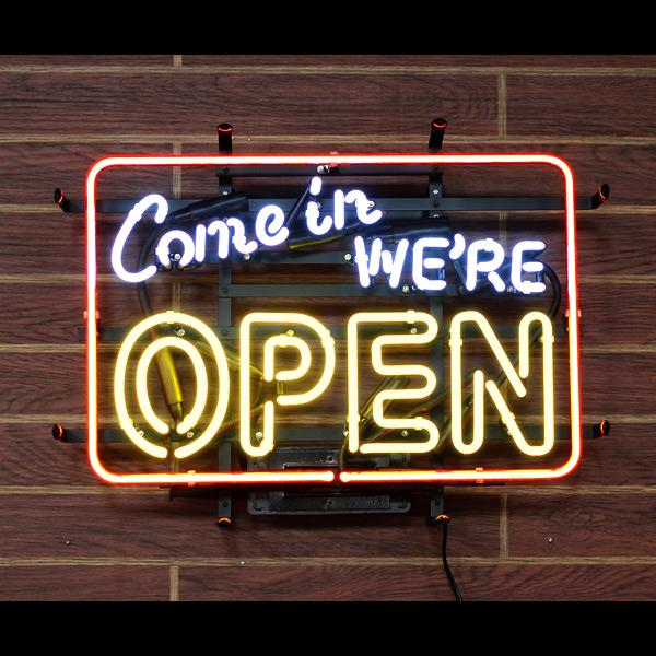 アメリカンネオンサイン 「COME IN WE'RE OPEN」 オープンサイン ネオン管 ガレージング アメリカンインテリア アメリカ雑貨 アメリカン雑貨