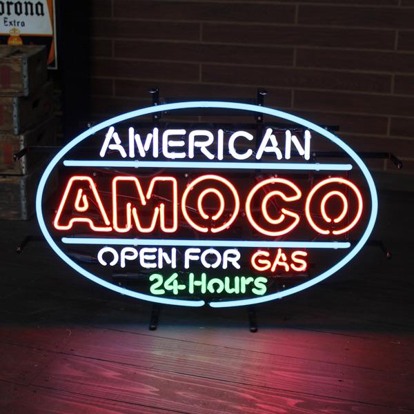 ネオンサイン 「AMOCO 24 HRS」 (アモコ24時間営業中 ) ネオン管 照明 ガレージ インテリア アメリカ雑貨 アメリカン雑貨