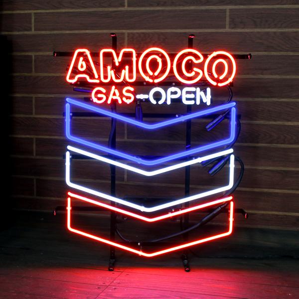 ネオンサイン 「AMOCO GAS-OPEN」 (アモコ GASオープン ) ネオン管 照明 ガレージ インテリア アメリカ雑貨 アメリカン雑貨