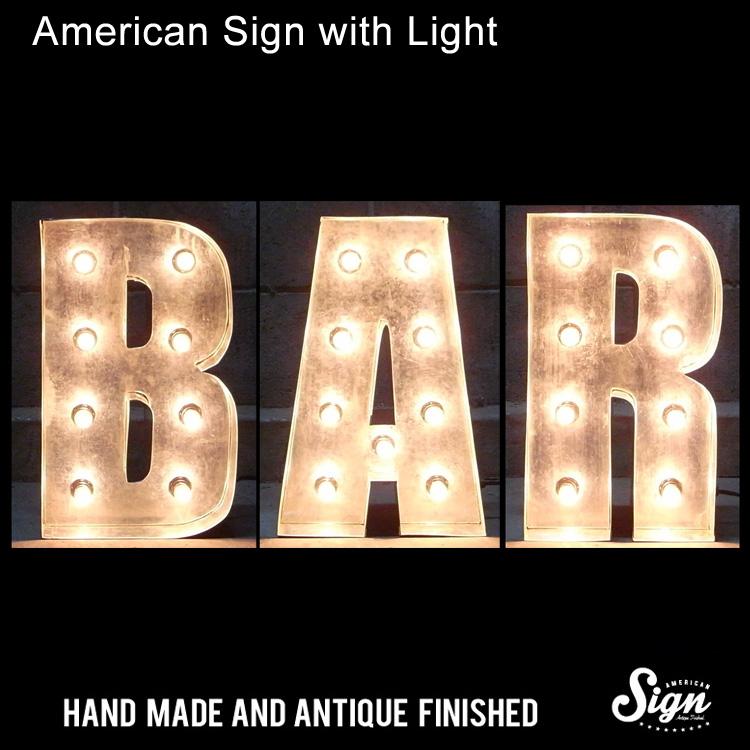 アメリカンサイン ウィズ ライト BAR :インパクトフォントタイプ 店舗装飾 インテリア 照明 アメリカ雑貨 アメリカン雑貨