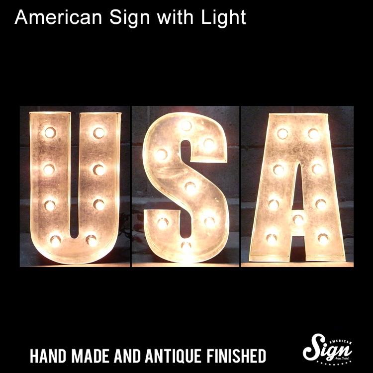 アメリカンサイン ウィズ ライト USA :インパクトフォントタイプ 店舗装飾 インテリア 照明 アメリカ雑貨 アメリカン雑貨