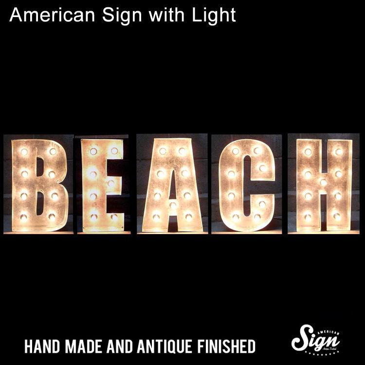 アメリカンサイン ウィズ ライト BEACH :インパクトフォントタイプ 店舗装飾 インテリア 照明 アメリカ雑貨 アメリカン雑貨