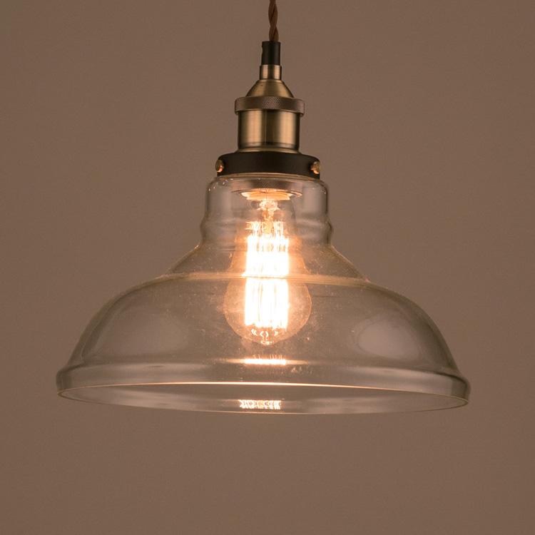 照明器具 ペンダントライト 吊り下げ おしゃれ エジソン電球付きランプ ガラスシェード ワイドボトム レトロ エジソンバルブ 60W シェードランプ アメリカ雑貨 アメリカン雑貨