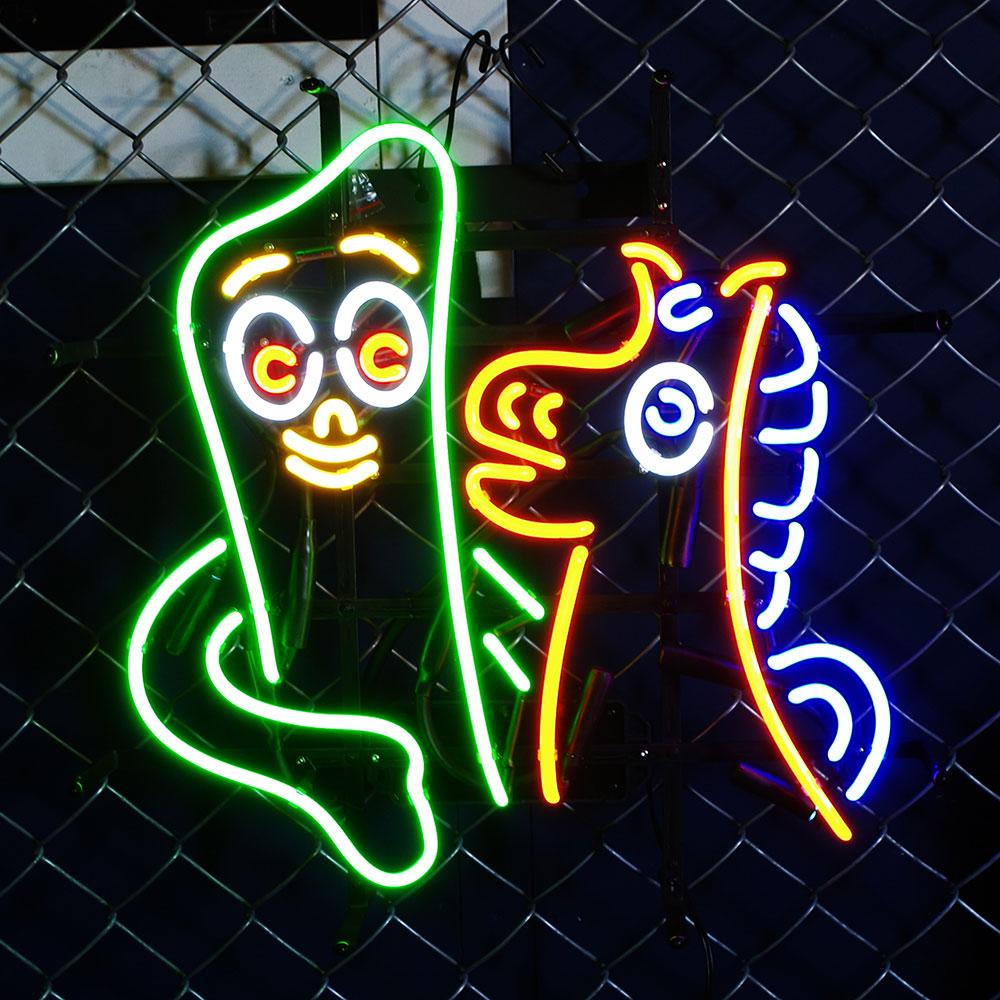アメリカンネオンサイン ガンビー H52×W52cm GUMBY キャラクター柄 ガレージ ネオン管 ネオン照明 インテリア アメリカ雑貨