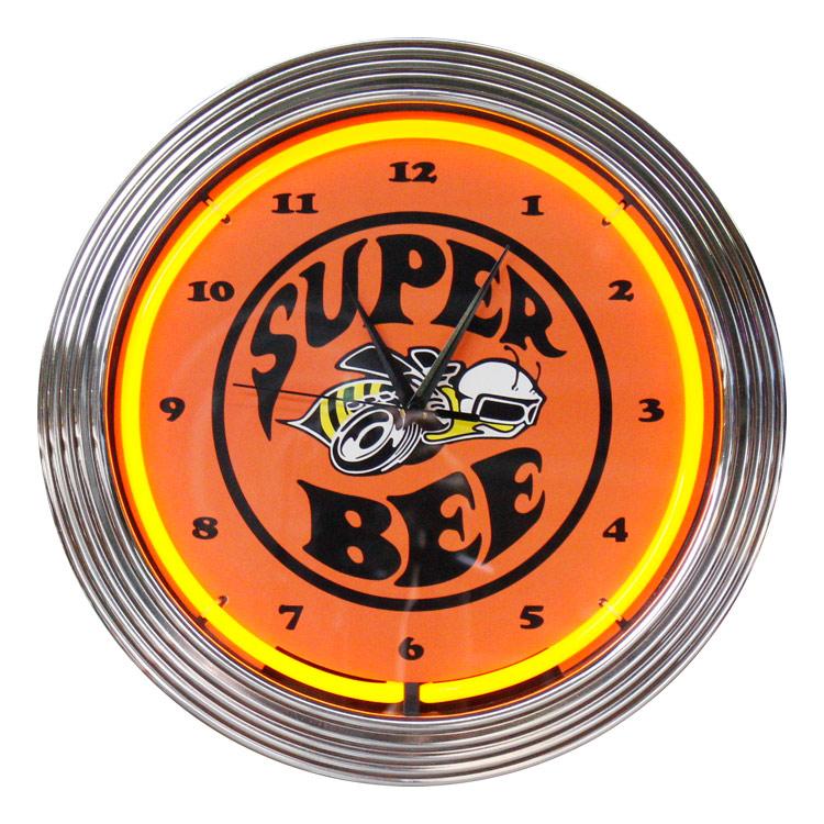 壁掛け 時計 ネオンクロック SUPER BEE スーパー・ビー オレンジネオン 直径38cm アメ車 ガレージ ネオン管 アメリカ雑貨