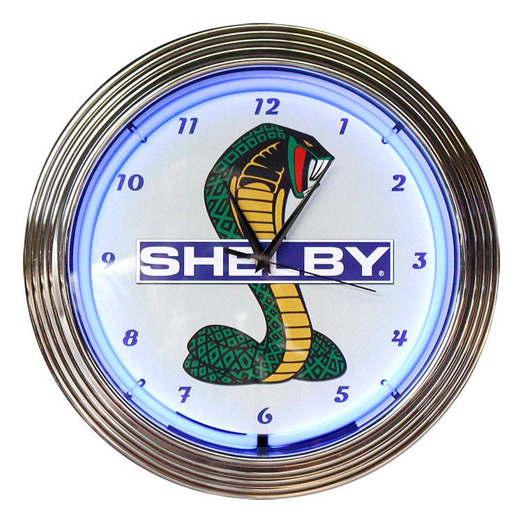 壁掛け 時計 ネオンクロック SHELBY COBRA シェルビーコブラ ブルーネオン 直径38cm アメ車 ガレージ ネオン管 アメリカ雑貨