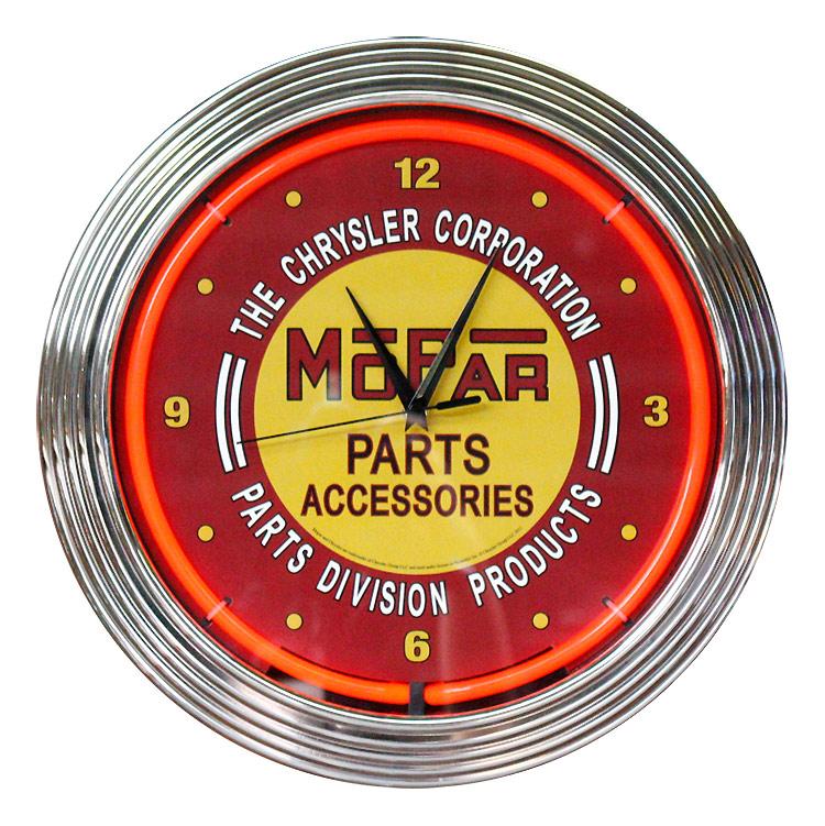 壁掛け 時計 ネオンクロック MOPAR PARTS ACCESSORIES モパー レッドネオン 直径38cm アメ車 ガレージ ネオン管 アメリカ雑貨