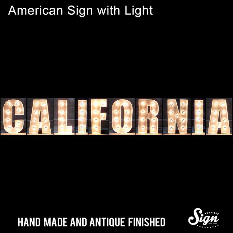 アメリカンサイン ウィズ ライト CALIFORNIA :インパクトフォントタイプ 店舗装飾 インテリア 照明 アメリカ雑貨 アメリカン雑貨