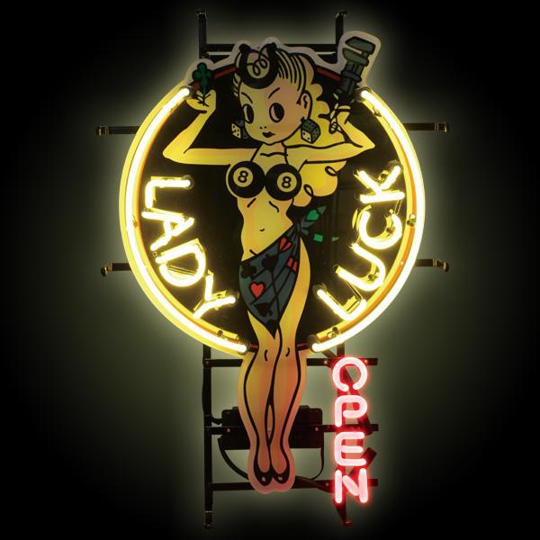 ネオンサイン 「LADY LUCK」 (レディラック ) HOTROD TATTO ネオン管 照明 ガレージ インテリア アメリカ雑貨 アメリカン雑貨